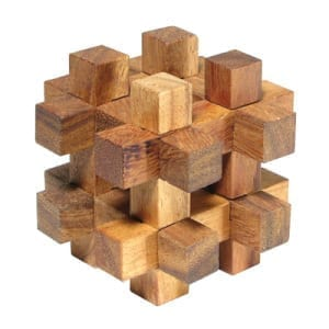 Wooden puzzles challenge your visualization skills