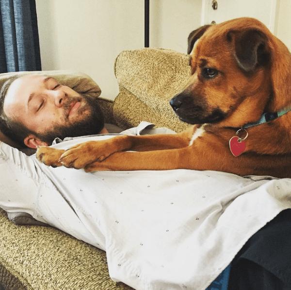 Elsa Pup and Matt napping