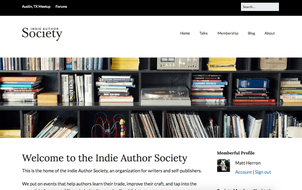 Indie Author Society website