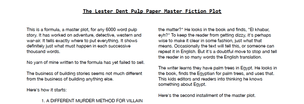 Lester Dent Master Fiction Plot - Printable version